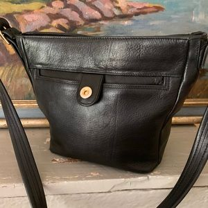 Tignanello Black Leather Zip Top Bag